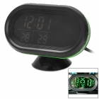 "G1 2.5"" LCD Electronic Car Voltage Meter / Thermometer w/ Clock - Black + Green"