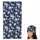 Skull Pattern Outdoor Cycleing Quick-Drying Seamless Head Scarf - Deep Blue + White