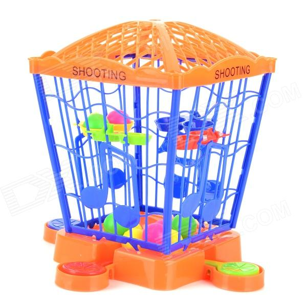 6034 Bird Cage Style Kid's Shooting Marbles Game Toy - Multicolored