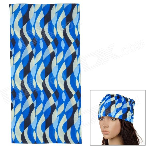 6032109 Geometric Patterns Outdoor Breathable Seamless Head Scarf - Blue + Black + Beige