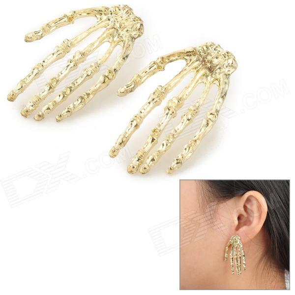 Skeleton Hands Style Zinc Alloy Earrings - Golden (Pair)