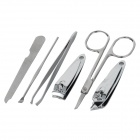 6-in-1 Carbon Steel Nail Clippers Scissors Manicure Tool w/ Carrying Case - Green + Silver + Black