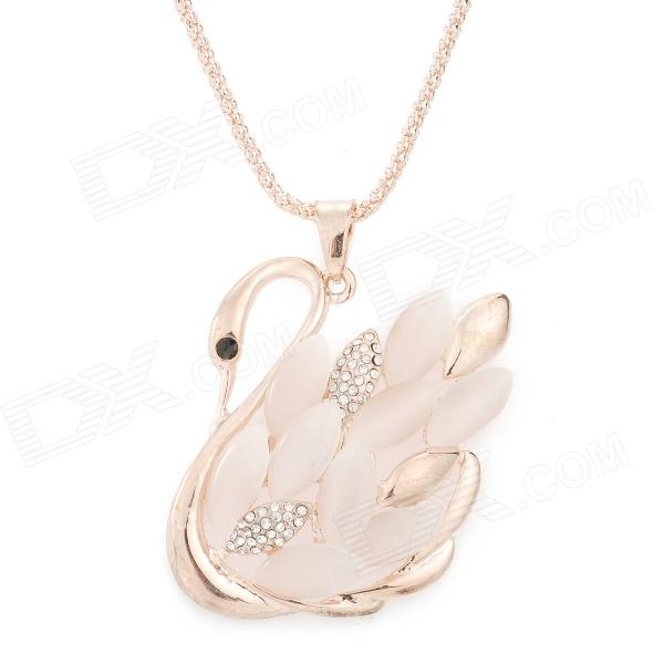 Swan Style Rhinestone Alloy Plating Necklace for Women - Rose Gold