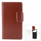 "Universal Protective PU Leather Case for All 4.0"" Cell Phones - Brown"