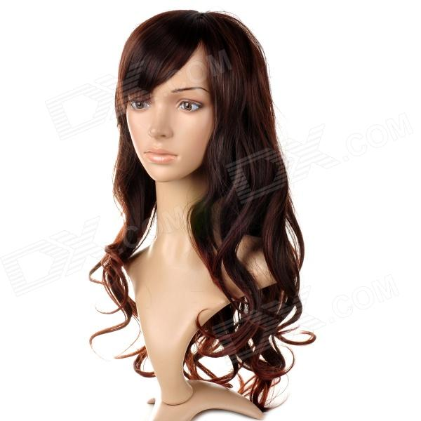Fashionable Women's Oblique Bangs Long Curly Hair Wig - Brown tpsmhd u black laser printer toner powder for samsung ml 2951 2956 2541 2547 cartridge top flowability 1kg in bag free fedex
