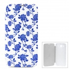 Blue and White Porcelain Pattern PU + Plastic Flip-Open Case for Samsung i9152 - Blue + White
