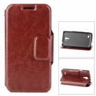 Protective PU Leather Case w/ Card Holder Slot for Samsung Galaxy S4 Mini i9190 - Brown