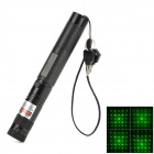 5mW Tubular Aluminum Alloy Green Laser Flashlight w/ Gypsophila Light - Black  (1 x 18650)