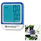 "SAHOO 1.6"" LCD Wired Waterproof Cycle Computer - White + Blue"