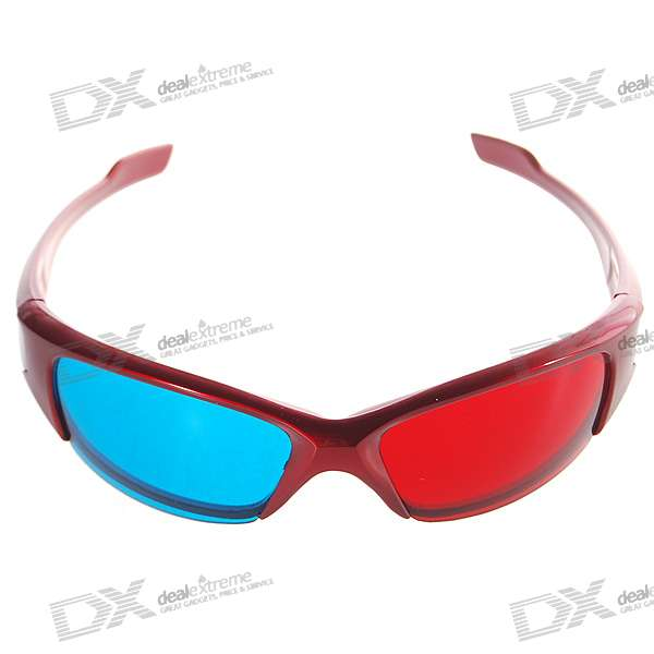 Re-useable Plastic Frame Resin Lens Anaglyphic Red + Blue 3D Glasses for Children