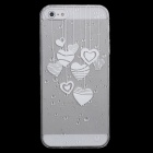 Cute Heart-Shape Pattern Protective Plastic Back Case for Iphone 5 - White + Transparent