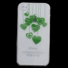 Cute Heart-Shape Pattern Protective Plastic Back Case for Iphone 4 / 4S - Green + Transparent