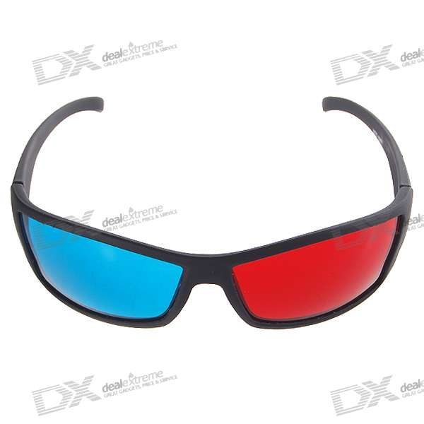 Re-useable Style Plastic Sanded Frame Resin Lens Anaglyphic Red + Blue 3D Glasses
