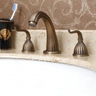 YDL-F-0510 European Style Antique Brass Dual Handles Minispread Bathroom Faucet - Bronze