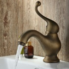 YDL-F-0409 Antique Teapot European Style Brass Cold / Hot Water Basin Faucet - Bronze