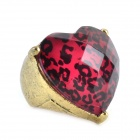 Leopardenmuster Edelstein-Ring - Messing Farbe + Red + Black
