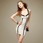 HST3023 Ladies Fashionable Small Evening Dress - White + Black