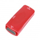 E-129 HDMI Female to VGA Female and Audio Adapter w/ 3.5mm Port - Red