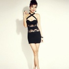 HST3374 Women's Silk Lace Cross-Strap Dress - Black (Free Size)