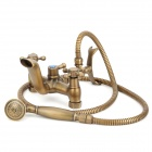 PHASAT 908 Retro Style Brass Wall Mounted Bathing Faucet w/ Shower Head / Water Pipe - Bronze