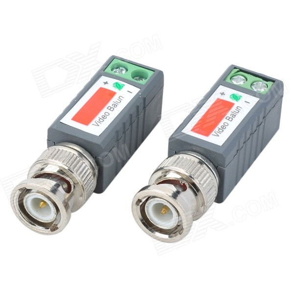Single Channel Passive Video Balun - Grey + Silver (2 PCS) single channel power video audio transceivers set cement grey