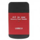 Compact All-in-One USB 2.0 SD / MMC / RS-MMC /Mini SD/TF/M2 Memory Card Reader - Red+Black