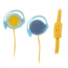 Trendy Ear Hook Stereo Earphones - Blue+ Yellow  (3.5mm-Plug / 120cm-Cable)