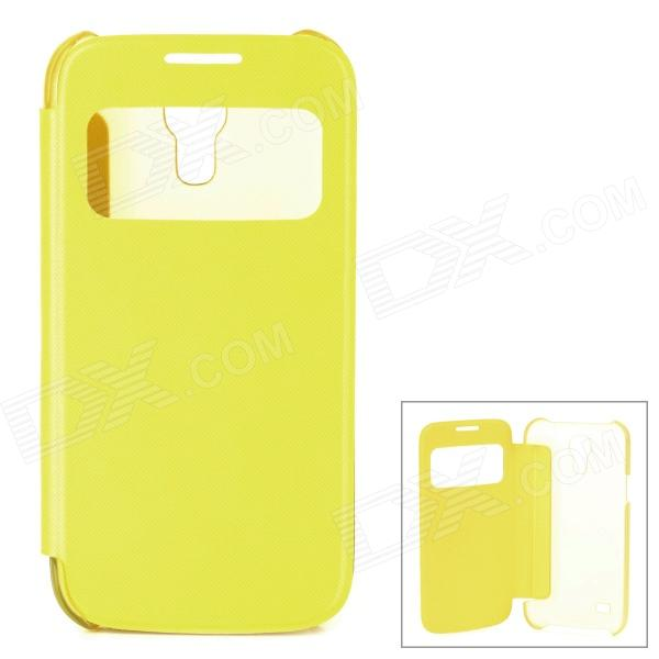Stylish Protective PU Leather Case w/ Display Window for Samsung Galaxy S4 Mini - Yellow cm001 3d skeleton pattern protective plastic back case for samsung galaxy s4