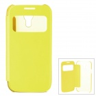 Stylish Protective PU Leather Case w/ Display Window for Samsung Galaxy S4 Mini - Yellow