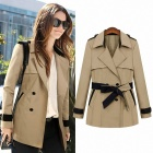 Slim Fit Long-sleeve Lapels Coat for Women - Khaki (Size-L)