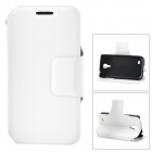 Protective PU Leather Case w/ Card Holder Slot for Samsung Galaxy S4 Mini i9190 - White