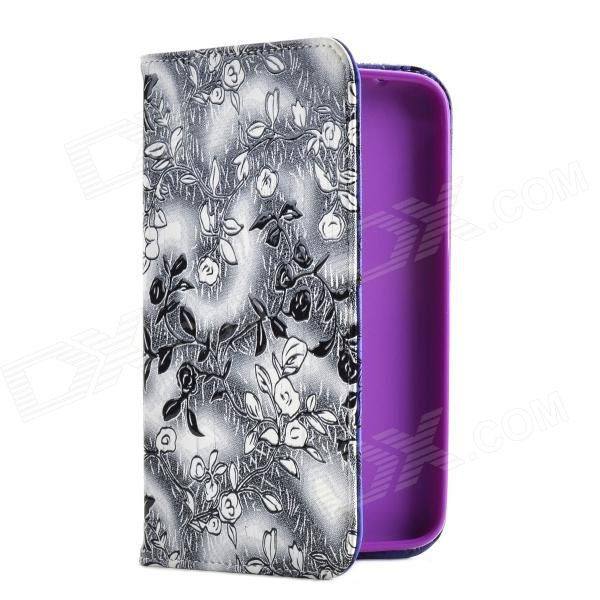 Rose Style Protective PU Case with Stand for Samsung Tab3.0 P3200 - Creamy White + Black