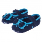 Fashionable Bowknot Cotton Baby Shoes - Deep Blue + Sky Blue (6~9 Months / Pair)