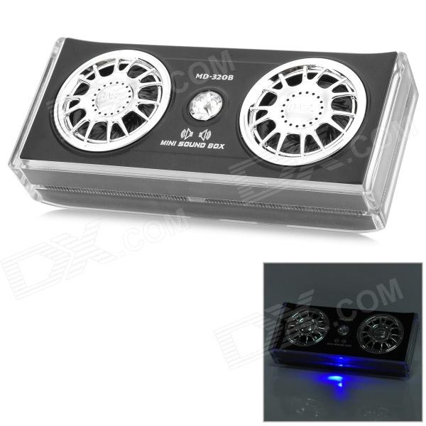 MD-320B 3.5mm Rechargeable Mini Bass Stereo Speaker - Black + Silver