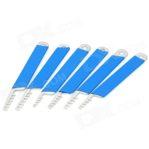 AML020146 Security Stainless Steel Lock Pick Set - Blue + Silver (6 PCS) mini stainless steel handle cuticle fork silver