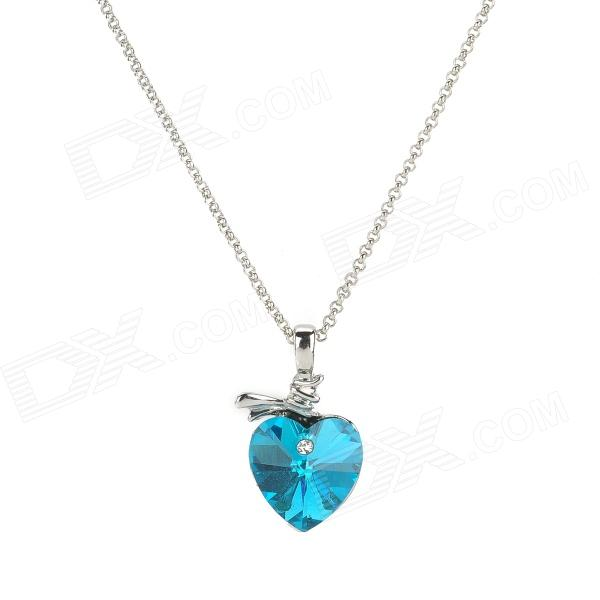 Madou Princess K007-2-36 Heart Style Necklace for Women - Blue + Silver