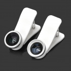 Universal 3-in-1 Fisheye + Wide Angle + Macro Lens Clamps for Iphone / Ipad + More - Black + White