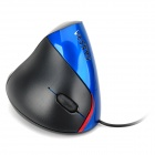 VESKYS V05 USB 2.0 Wired 800 / 1200 / 1600 / 2400dpi Optical Vertical Mouse - Blue + Black