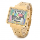 JIALILEI Luminous Pointer TV Pattern Analog Quartz Wrist Watch - Golden