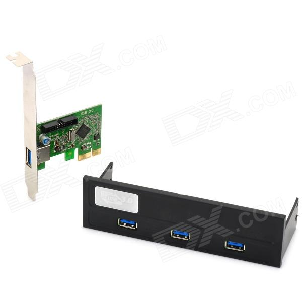 USB 3.0 PCI-E Expansion Card + 5.25 Chassis Front Panel Set for Desktops - Black + Green 19 pin to usb 2 0 usb 3 0 cd rom expansion mobile rack w hd audio output for pc black