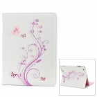 Flower & Butterfly Pattern Flip-Open PU Leather Stand Case for Ipad 2 / 3 / 4 - White + Purple
