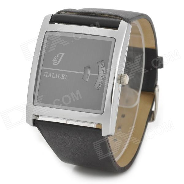 JIALILEI Retro Rectangle Dial Analog Quartz Wrist Watch for Men - Black fashion black turntable rectangle dial quartz sport wrist watch black pu leather boy men creative digital watches