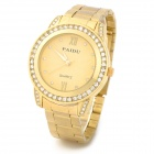 PAIDU 58923 Round Dial Rhinestone Analog Quartz Wrist Watch for Women - Golden