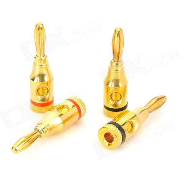 4mm Copper Banana Plugs for Speaker / Amplifier + More - Golden + Black + Red (2 Pairs) 1pcs yt191 high voltage 4 mm banana plug test lead cable wire 100 cm for multimeter the probes gun type banana plugs