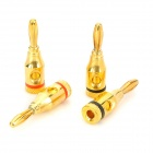 4mm Copper Banana Plugs for Speaker / Amplifier + More - Golden + Black + Red (2 Pairs)