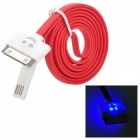 USB 2.0 to 30-Pin Data/Charging Flat Cable w/ Smiley Face Indicator Light for iPhone 4 / 4S - Red