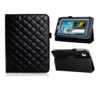 Rhombus Style Protective PU Leather Case Stand w/ Auto Sleep for Samsung Galaxy Tab 3 P3100 - Black