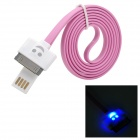 USB 2.0 to 30-Pin Data/Charging Flat Cable w/ Smiley Face Indicator Light for iPhone 4 / 4S - Pink
