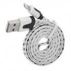 Polka Dot Style USB to 8-Pin Lightning Data / Charging Flat Cable for iPhone 5 - White + Black