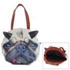 Cute Dog Head Style PU Shoulder Bag - White + Black + Brown